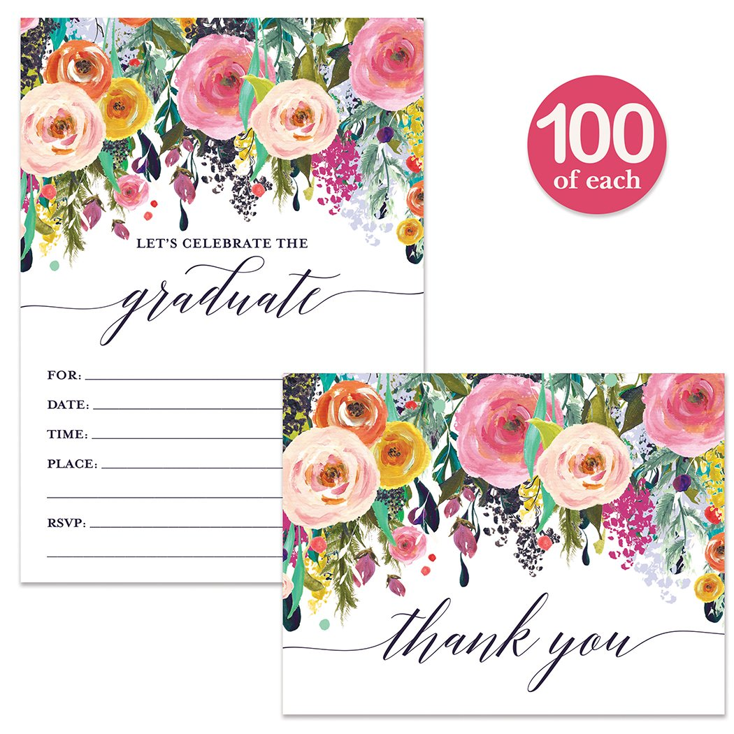 Graduation Party Invitations & Thank You Notes ( 100 of Each ) Pretty Matching Set with Envelopes Celebrate Female Graduate High School College University Fill-in Invites & Thank You Cards Best Value