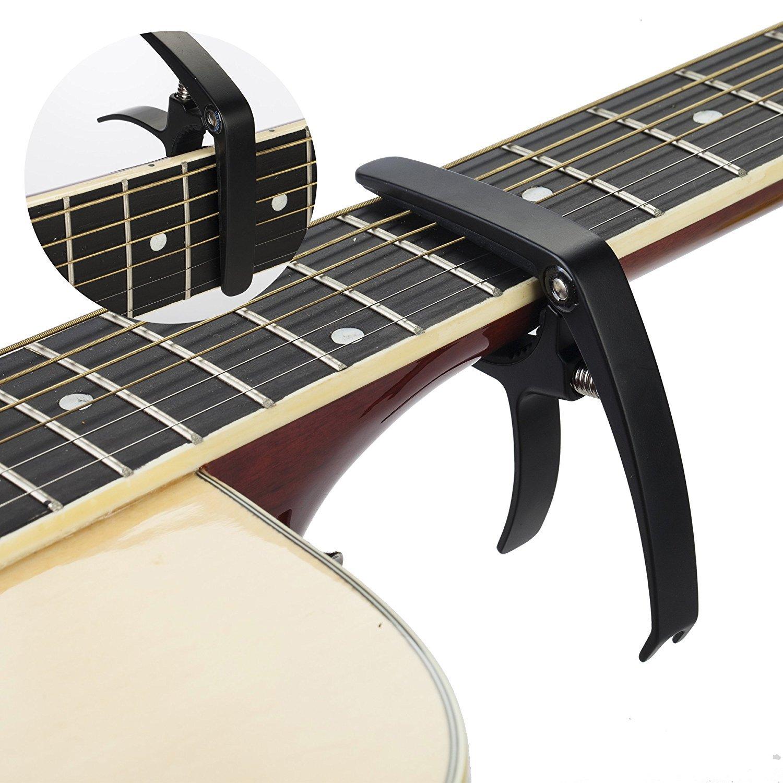 traderplus clásica guitarra Capo cambio rápido con 6 púas de guitarra para guitarra acústica: Amazon.es: Instrumentos musicales