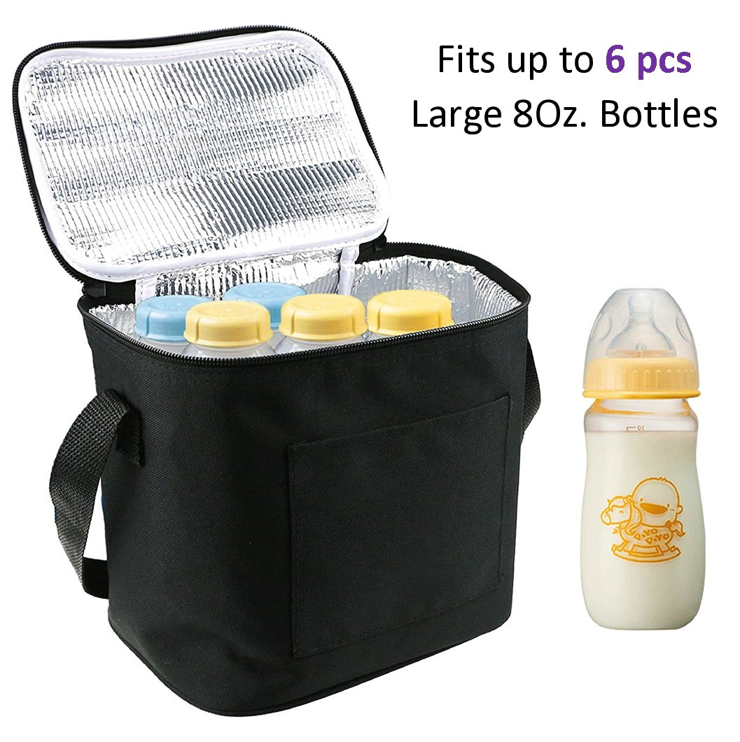 Baby Bottle Bags for Travel, Lexvss Breastmilk Insulated Cooler Tote Storage, Reusable Breast Milk Baby Bottle Cooler Bag (Fits up to 6 Large 8Oz. Bottles)【Black】 (Standard Size)