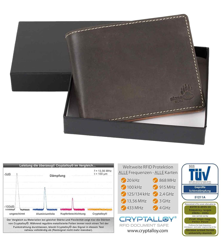 aea22d0c33ab3 Herrengeldbörse RFID Geldbörse RFID NFC Schutz CRYPTALLOY Geldbeutel Herren  braun Querformat Leder RFID Blocking Abschirmung  Amazon.de  Koffer