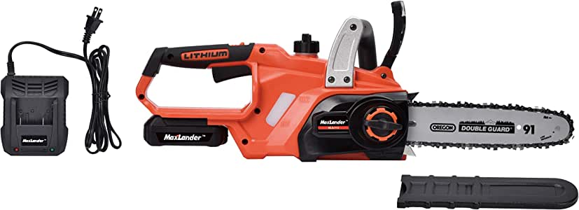 MaxLander Cordless Chainsaw Battery Powered with 20V 2.0Ah Battery and Fast Charger, 10 Inch Oregon Chain and Bar Auto Tension
