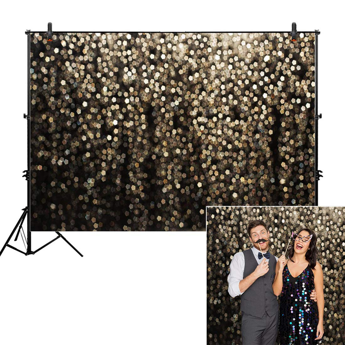 Allenjoy 7x5ft Gold Bokeh Spots Backdrop for Selfie Birthday Party Pictures Photo Booth Shoot Graduation Prom Dance Decor Wedding Vintage Astract Glitter Dot Studio Props Photography Background by Allenjoy (Image #1)