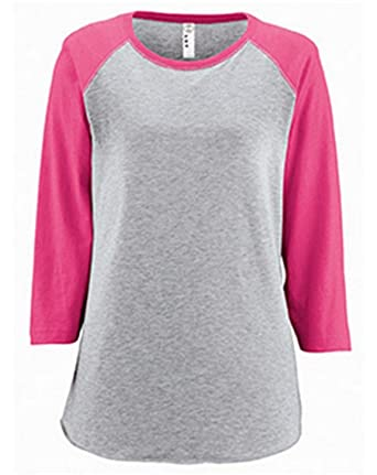 069a4e909bd9 LAT Ladies  Fine Jersey Raglan 3 4 Sleeve Baseball Tee at Amazon Women s  Clothing store