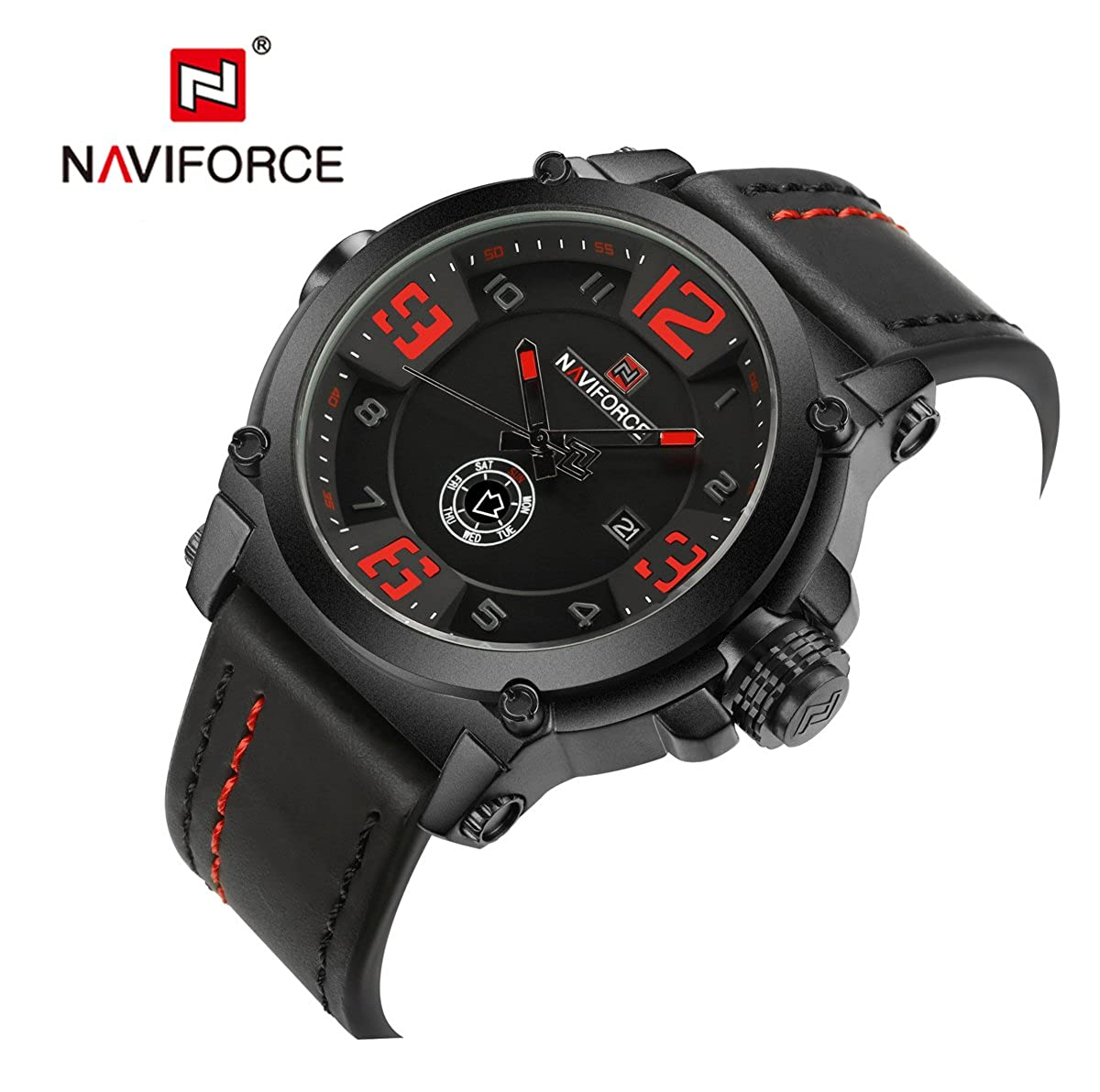 Amazon.com: NX 9099 Men Sports Quartz Leather Calendar and Week Showed 30m Waterproof Wrist Watches (Black Red): Watches