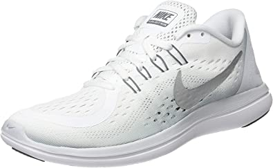 NIKE Women's Flex 2017 RN Running Shoe (6 B(M) US, WhiteMetallicSilver)