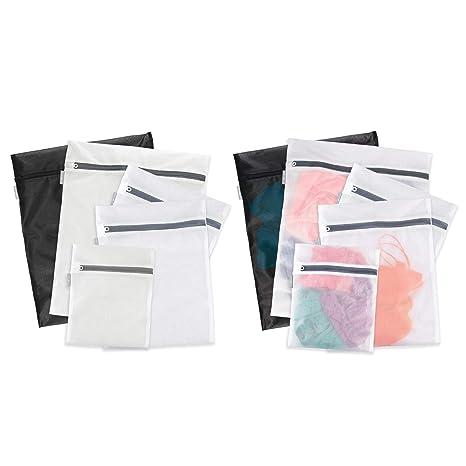 mDesign Juego de 10 bolsas para lavadora con cremallera inoxidable – Modernas bolsas para la colada – Bolsas para ropa sucia, ropa delicada y ...