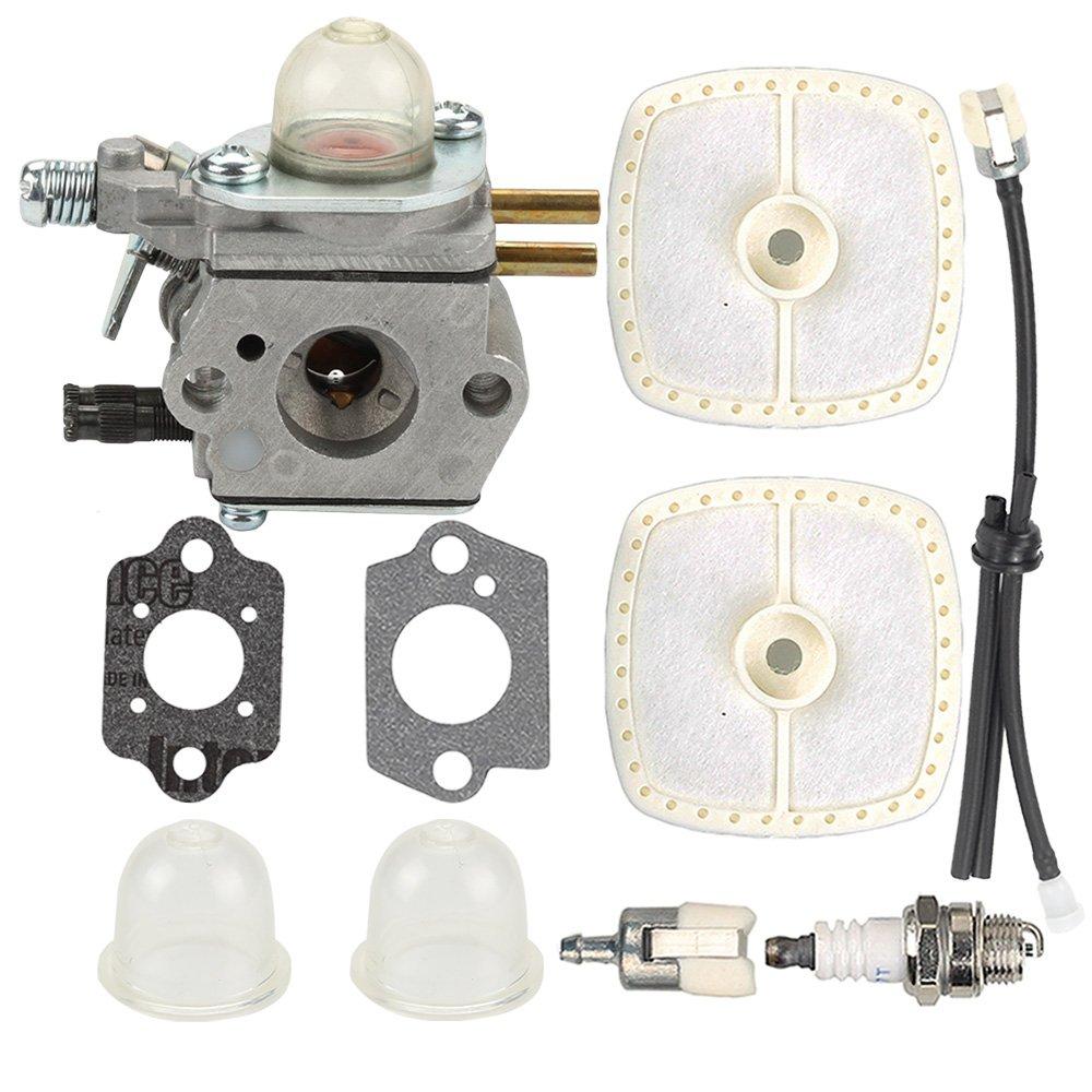 Butom SRM-2100 Carburetor with Air Filter Tune Up Kit for ECHO SRM-2110 SRM-2400 SRM-2410 PE-2400 PE-2000 GT-2000 GT-2400 PP-1400 PP-800 PPF-2100 PPT-2100 HCA-2400 LHE-2475 TT-24 Power Pruner Trimmer