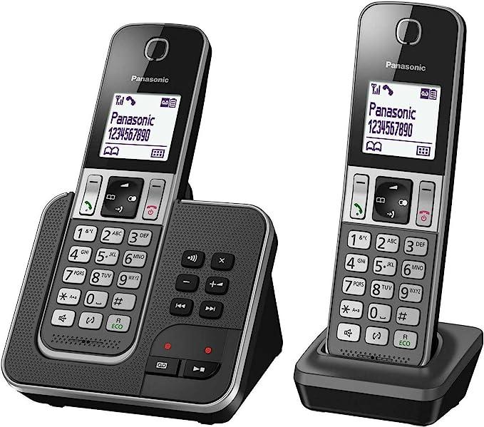 Panasonic KX-TGD322 DECT Identificador de Llamadas Negro, Gris: Amazon.es: Electrónica