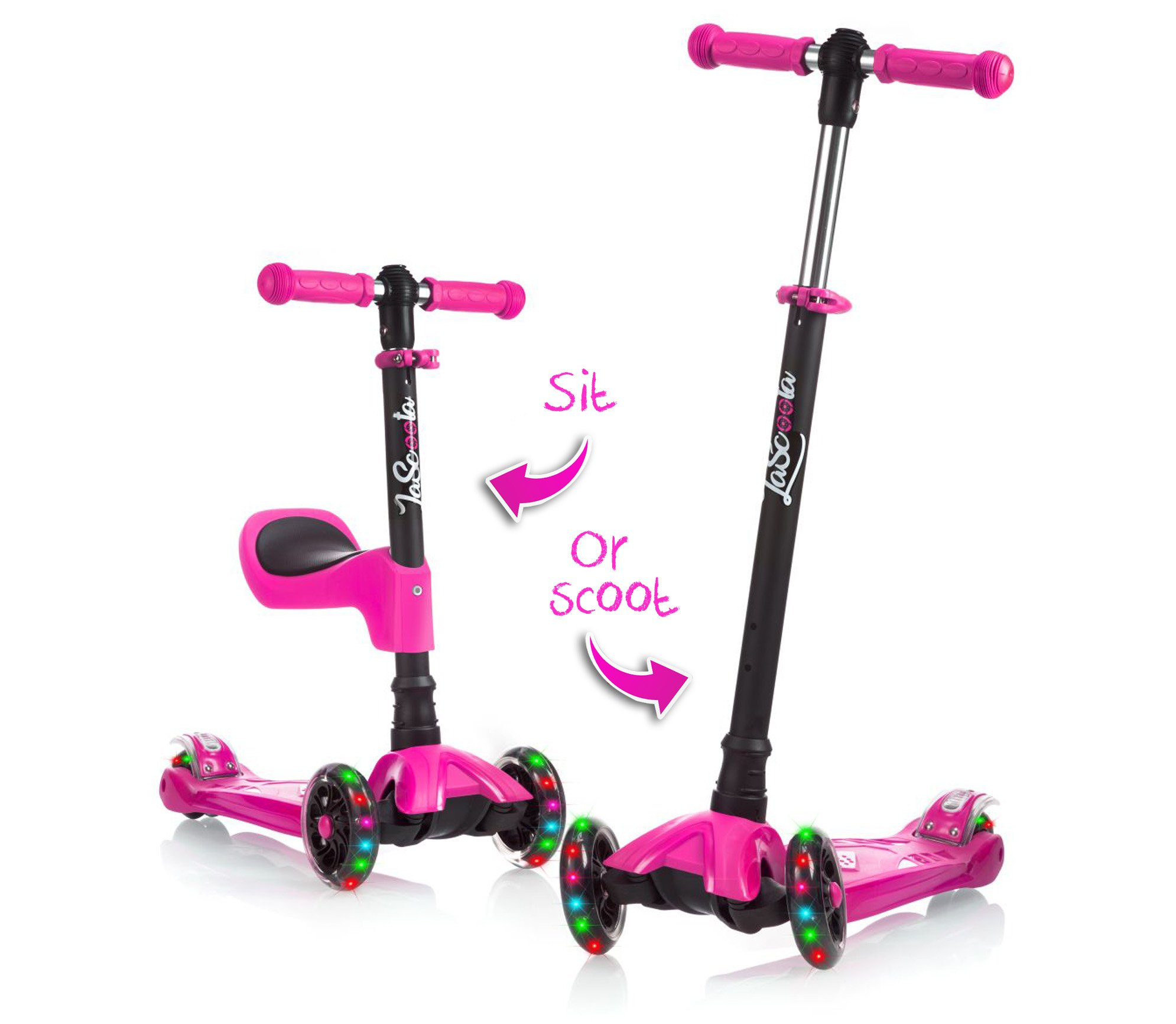 LaScoota 2-in-1 Kick Scooter with Removable Seat great for kids & toddlers Girls or boys – Adjustable Height w/Extra-wide Deck PU Flashing Wheels for Children from 2 to 14 Year-Old (Pink) by LaScoota (Image #1)