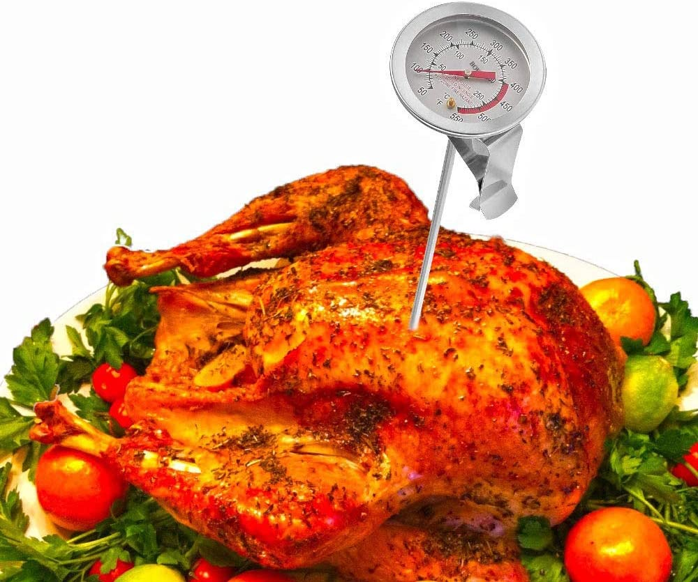 BOHK Handy 6 Inch Probe Deep Fry Meat Turkey Thermometer With 2 Inch Dial Stainless Steel For BBQ Grill Pot Pan Kettle 50℉-550℉ 1 Piece