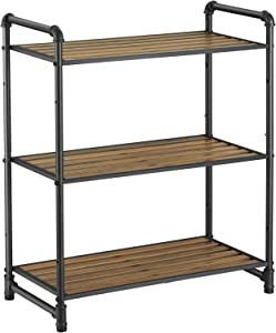VASAGLE 3-Tier Storage Rack, Customizable Bathroom Kitchen Shelf, Industrial Style Extendable Plant Stand with Adjustable Shelf, 25.1 x 12 x 28.9 Inches, for Living Room, Balcony, Rustic Look UBSC24BX