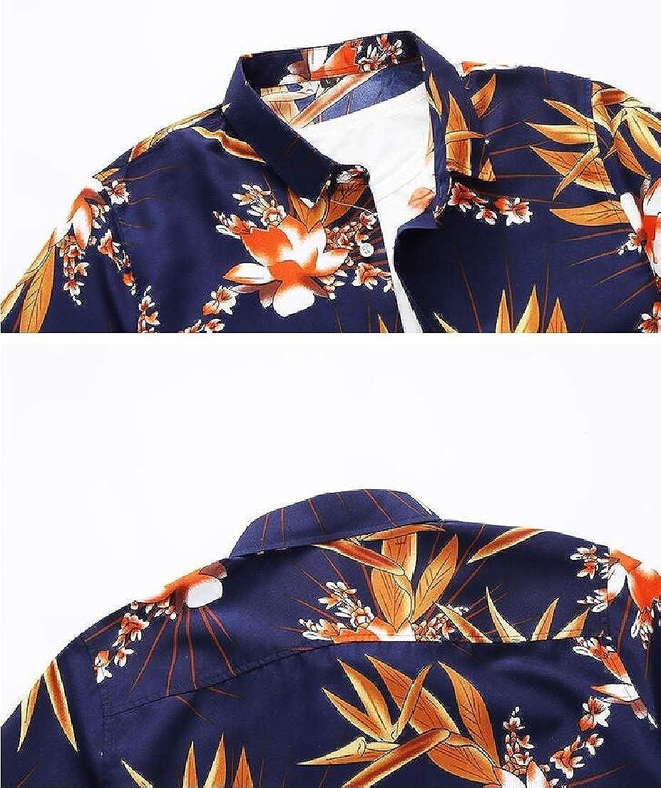 Vska Mens Plus Size Short-Sleeve Beach Summer Printed Tees Work Shirt