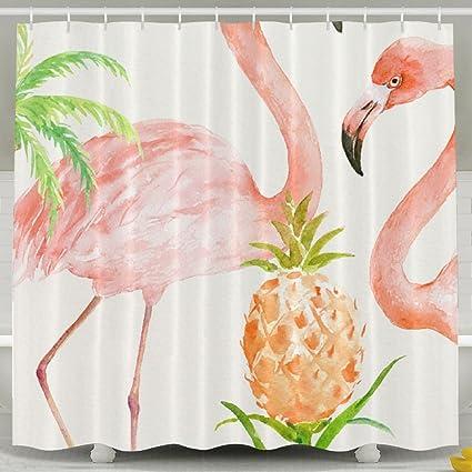 Waterproof Geometric Pineapple Flamingo Shower Curtain Liner Bathroom Set Hooks
