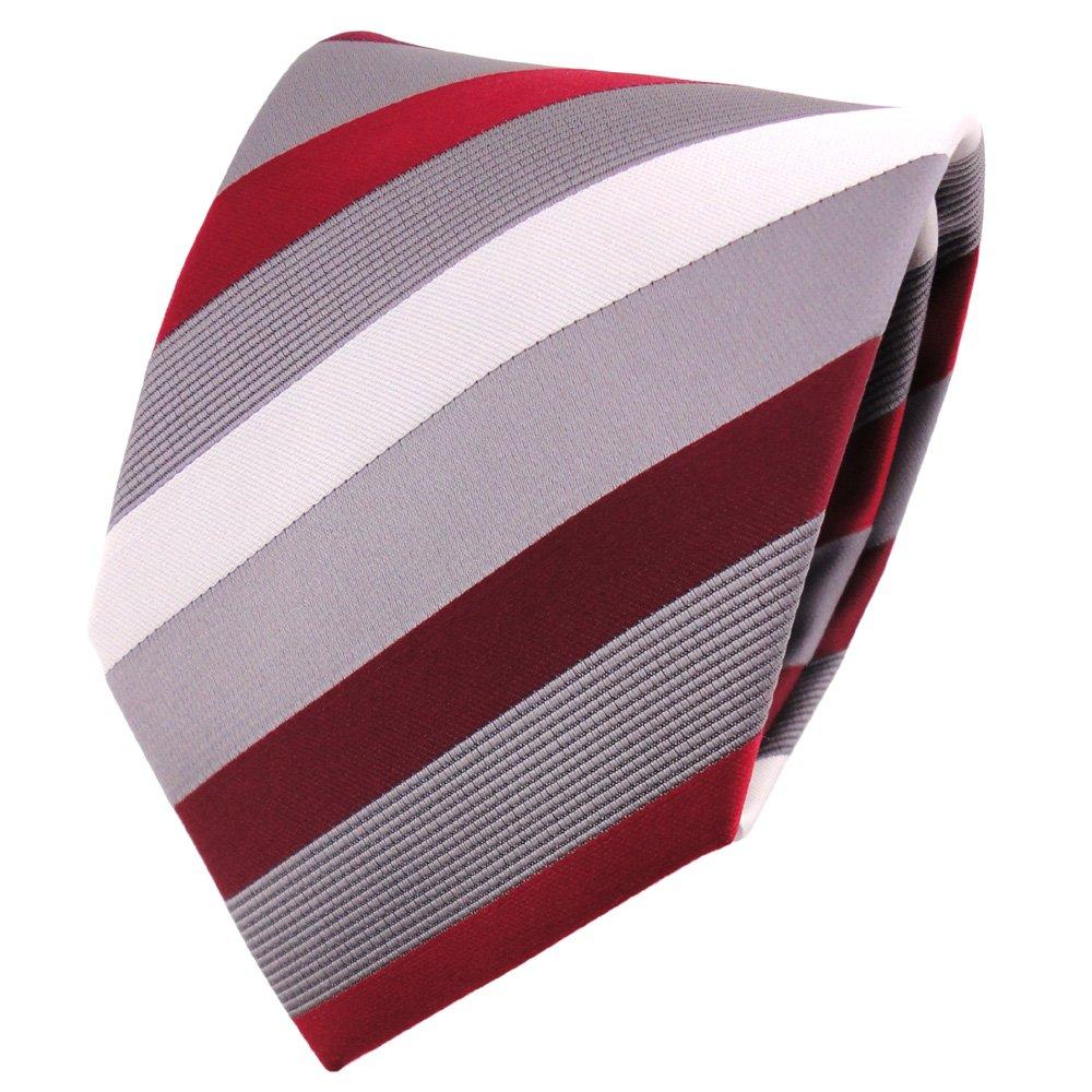 TigerTie - Corbata - rojo frambuesa-roja plata gris rayas: Amazon ...