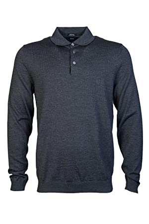 Hugo Boss Long Sleeve Polo Shirt Banet in Grey XL