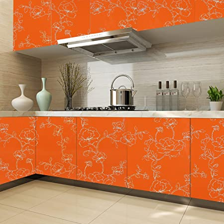 Kinlo 061 x 5m pvc self adhesive wallpaper stickers orange cabinets kitchen table