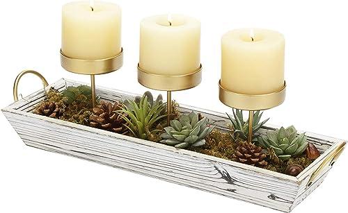 MyGift 3-Pillar Gold-Tone Metal Candle Holder Decorative Centerpiece