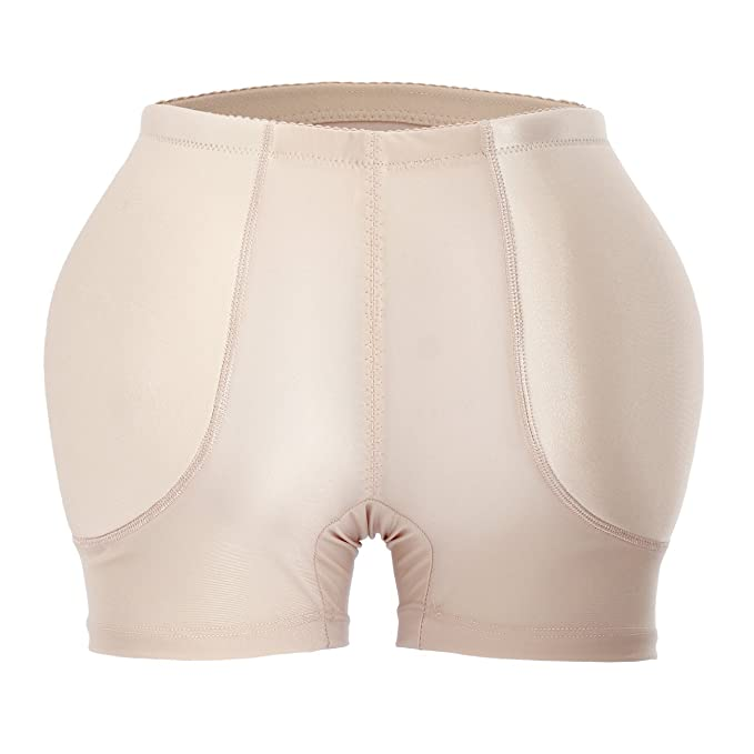 Women Pure Black Jacquard Padded Butt Hip Enhancer Shaper Panties Underwear  (L, Beige)
