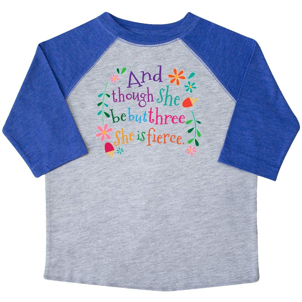 inktastic 3rd Birthday She is Fierce Girls 3 Year Old Toddler T-Shirt