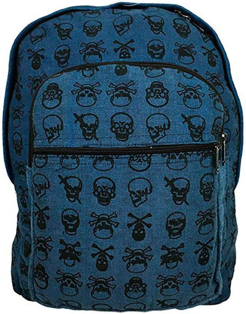 Fair Trade Skull Backpack, Handcrafted in the Himalayas Blue