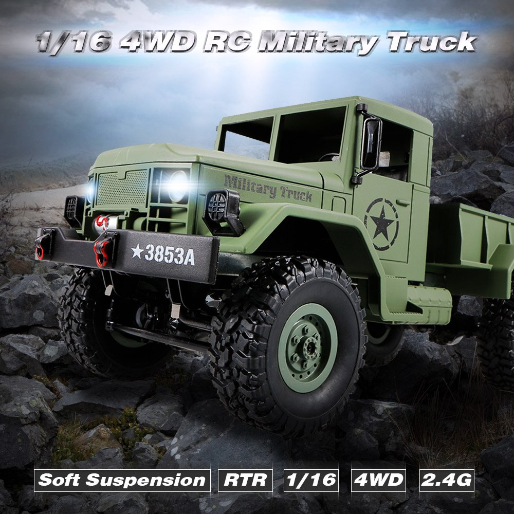 Goolsky WPL B-1 1/16 2.4G 4WD Off-Road RC Truck Rock Crawler Army ...