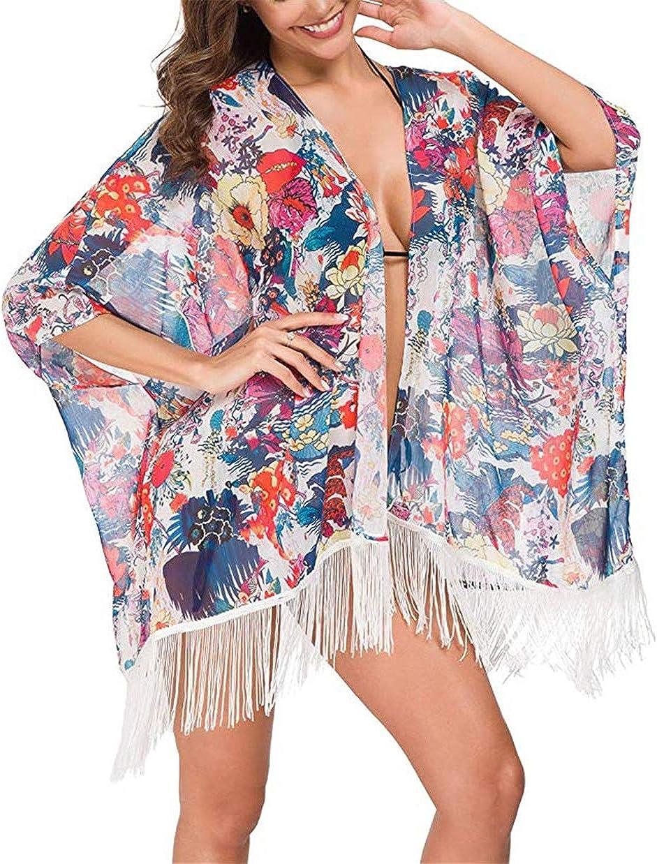 Okwin Copricostume Donna Mare Vacanze Chiffon Costume da Bagno Abito da Spiaggia Colorata Copricostumi da Bagno Bikini Cover Up