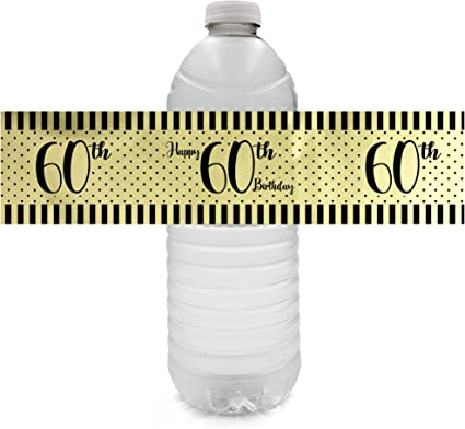 GOLD 70TH BIRTHDAY PARTY FAVORS WATER BOTTLE LABELS ~ PERSONALIZED