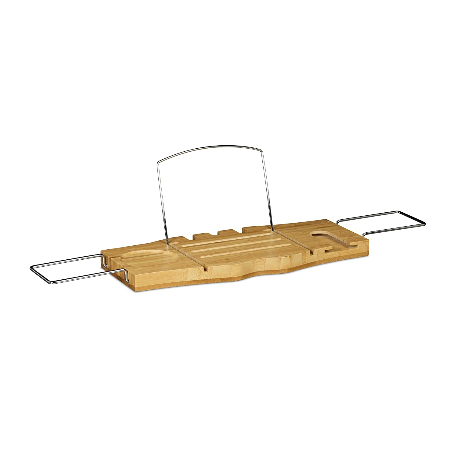 Relaxdays Bathtub Tray with Book Holder Book Stand with Stainless ...