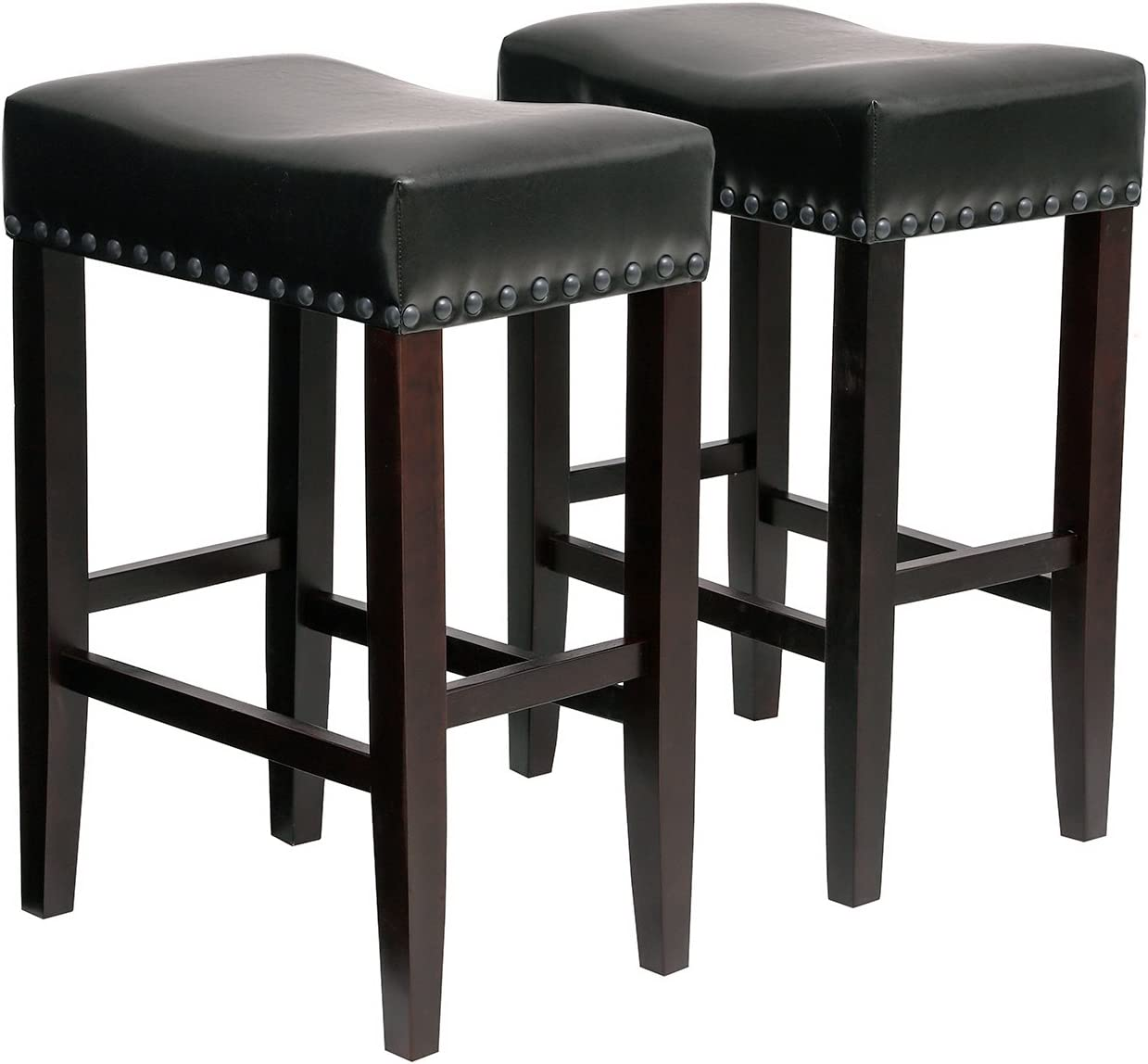 SONGMICS Set of 2 Counter Stools, Well-Padded Ergonomic Bar Stools, Solid Wood Legs, PU Cover, Seat Height 26.4 Inches, with Footrest, Dark Brown ULDC37BR