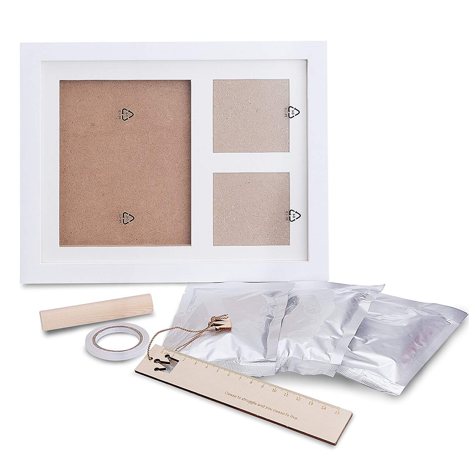 Non Toxic and Safe Clay Solid Wood Photo Frame with Safe Acrylic Front Makes A Perfect Baby Boy//Girl Shower Gifts INNOCHEER Baby Handprint and Footprint Frame Kit