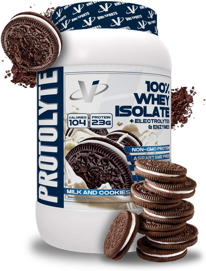 VMI Sports Protolyte polvo de proteína aislada de suero de leche, leche y galletas, 1.63lb, con aminoácidos, electrolitos, enzimas, alta en proteínas, ...