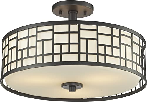 Z-Lite 329-SF16-BRZ 3-Light Semi-Flush Mount with Matte Opal Shade and Bronze Shade