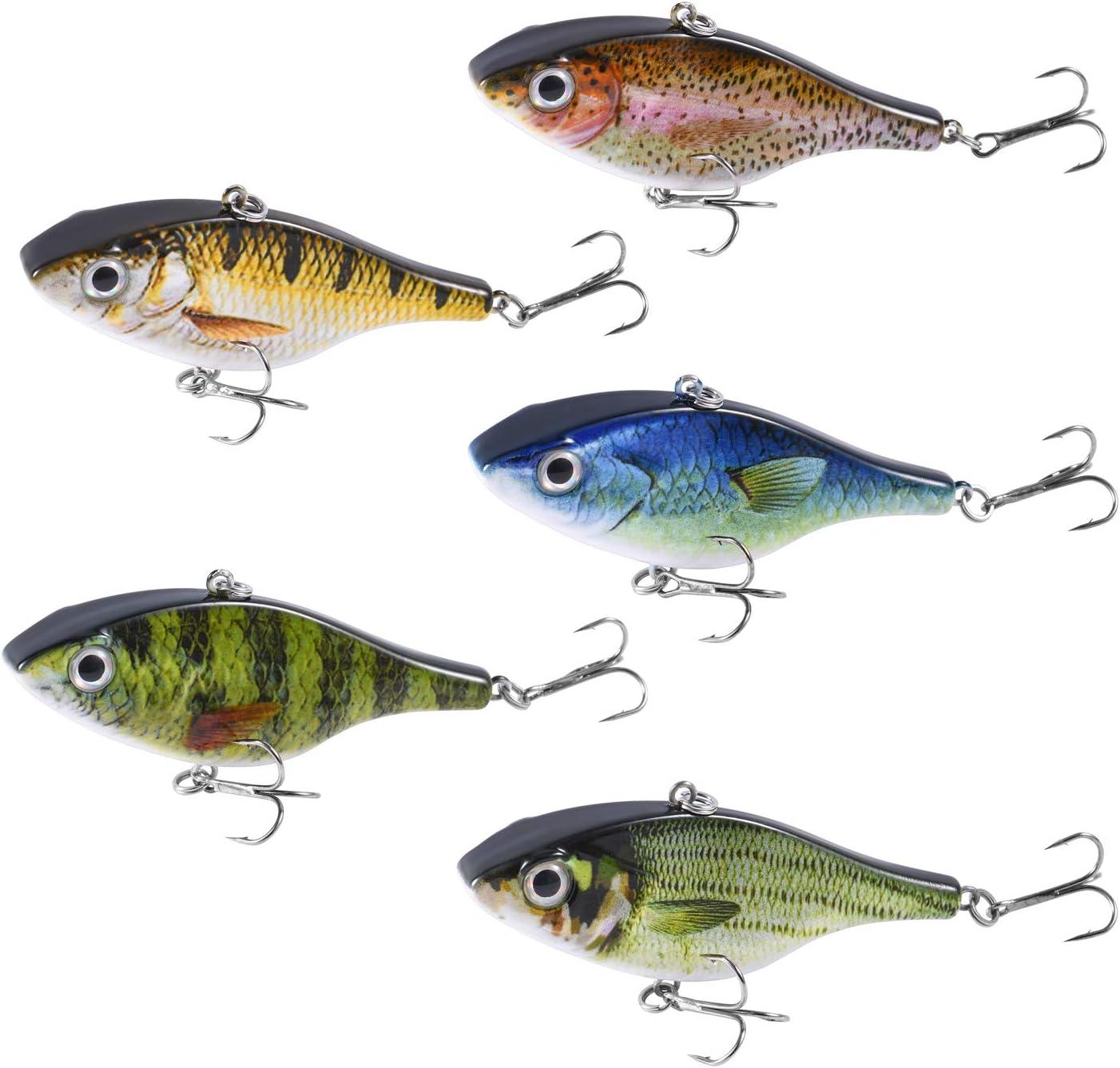 Magreel Señuelos Pesca Set Mini 5pcs Kit de Señuelo Pesca Accesorios Cebos Artificiales Crankbaits Swimbait con Caja de Aparejos (18.4g/7.5cm): Amazon.es: Deportes y aire libre