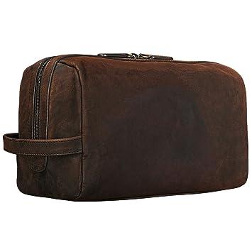 08a1d8f326898 STILORD  Thilo  Kulturbeutel Herren Leder braun groß Kulturtasche mit  Henkel Waschtasche Reisetasche Necessaire Vintage