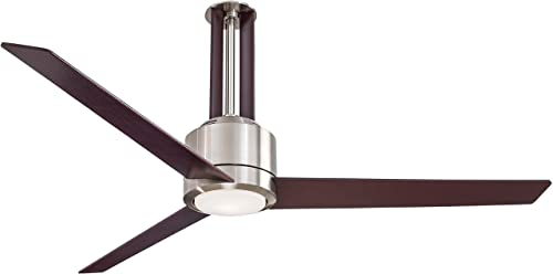 Minka-Aire F531-L-BN MG Downrod Mount, 3 White Blades Ceiling fan with 67 watts light, Brushed Nickel Mahogany