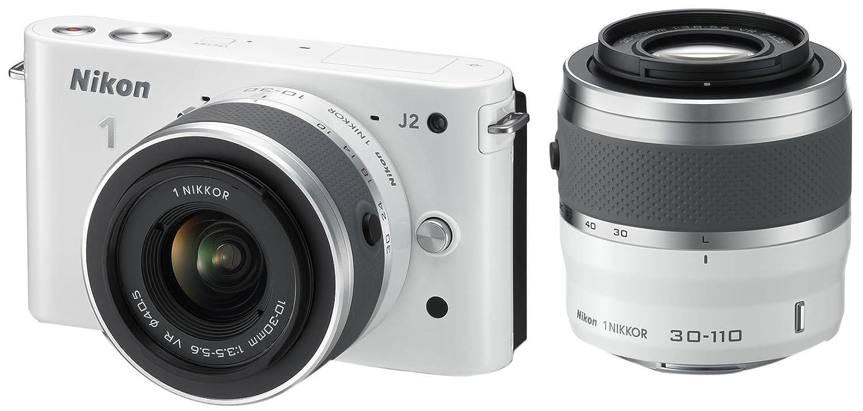 Nikon ミラーレス一眼 Nikon 1 J2 ダブルズームキット1 NIKKOR VR 10-30mm f/3.5-5.6/1 NIKKOR VR 30-110mm f/3.8-5.6付属 ホワイト N1J2WZWH  ホワイト B008V62PO4