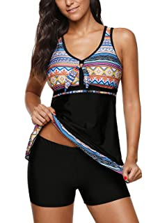 45aef9aa269 Zando Women s Plus Size Swimsuit Striped Color Block Tankini Top with  Boyshorts Swimwear Two Piece Bathing