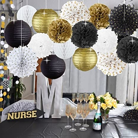 Kubert New Year Party Decoration Gold Polka Dot Tissue Paper Fans Black White