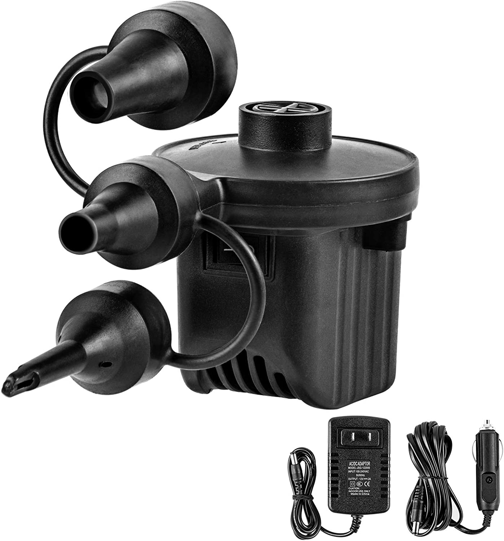 Details about  /Electric Air Pump Quick-fill Portable Inflator Deflator Air Mattress Pump Black