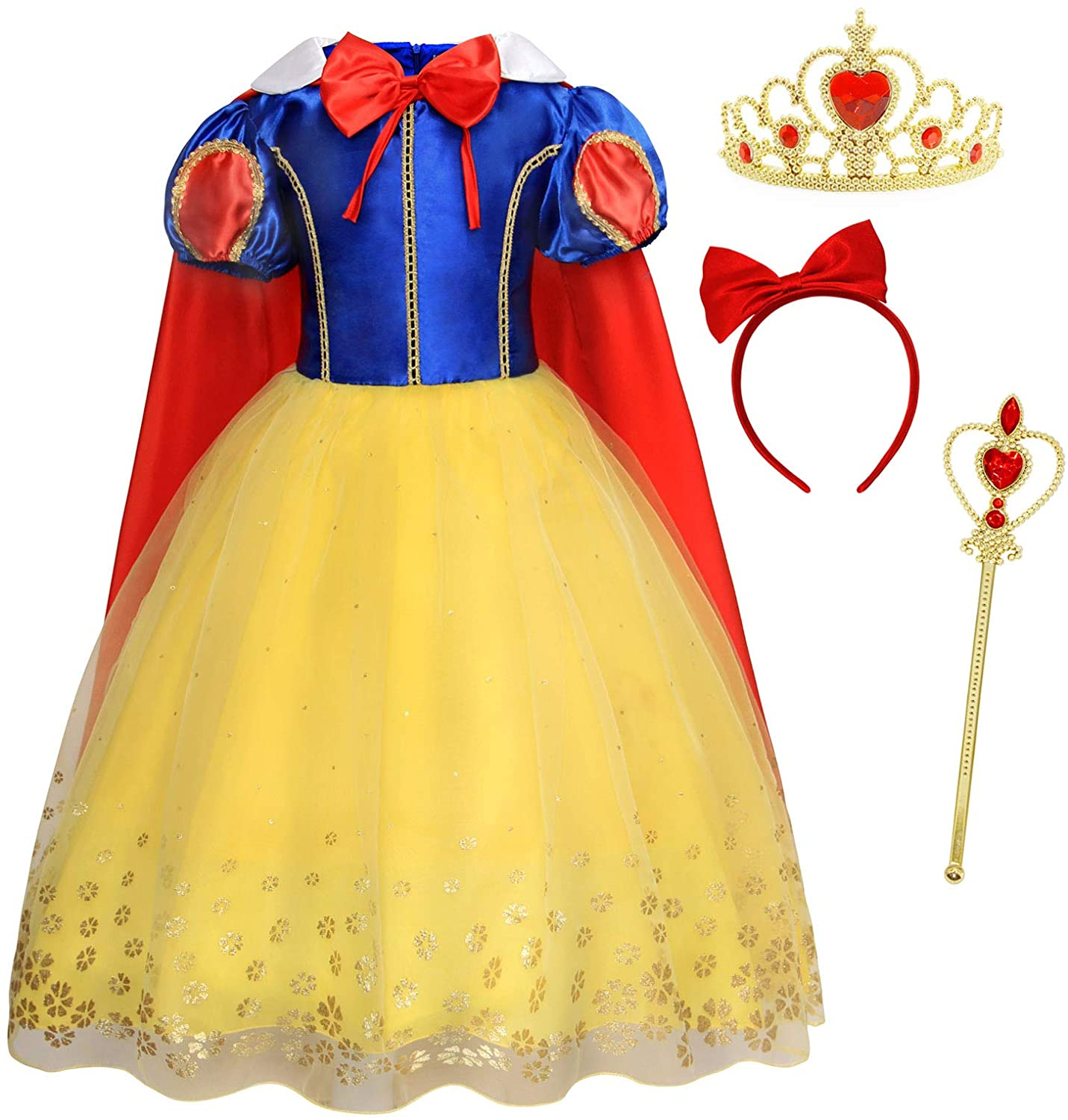 HenzWorld Princess Costume Dress Cape Birthday Party Cosplay Outfits Headband Jewelry Accessories Little Girls 1-8 Years