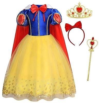 AmzBarley Disfraz Vestido Princesa Blancanieves Niña Tutu Ceremonia,Traje Niña,Disfraz Infantil Fiesta Carnaval Cosplay Halloween (Amarillo-03 con ...