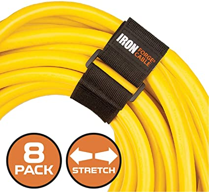 and More Ropes Hoses Extension Cord Wrap Organizer 4 Pack of Elastic Storage Straps 24 Inch Stretchy Hook and Loop Cinch Straps for Power Cables