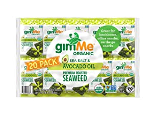 gimMe Organic Roasted Seaweed Sheets - Sea Salt & Avocado Oil - 20 Count - Keto, Vegan, Gluten Free - Great Source of Iodine and Omega 3's - Healthy On-The-Go Snack for Kids & Adults
