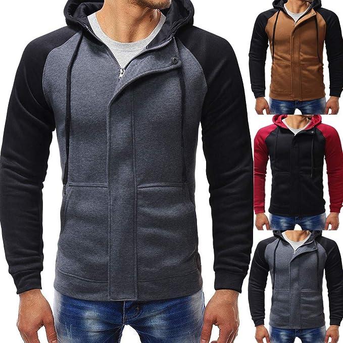 Rawdah_Camisetas De Hombre Manga Larga Hombre De Manga Larga OtoñO Invierno Empalme Casual Sudadera con Capucha Blusa Superior: Amazon.es: Ropa y accesorios