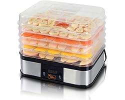 SuperHandy Food Dehydrator Electric Preserver Machine 5 Tray Layer BPA Free Digital Timer 1-48h Temperature Range 104F (40C)