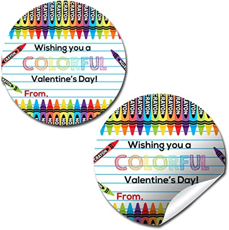 Class  Set of 25  Watercolor Valentine tags or stickers