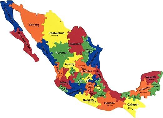 Amazon Com Trade Mx Mexico Map Foam Puzzle 13 X16 X 0 3 31 Pieces States Capitals Toys Games