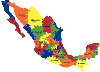 mexico map foam puzzle 13 x16 x 03 31 pieces states