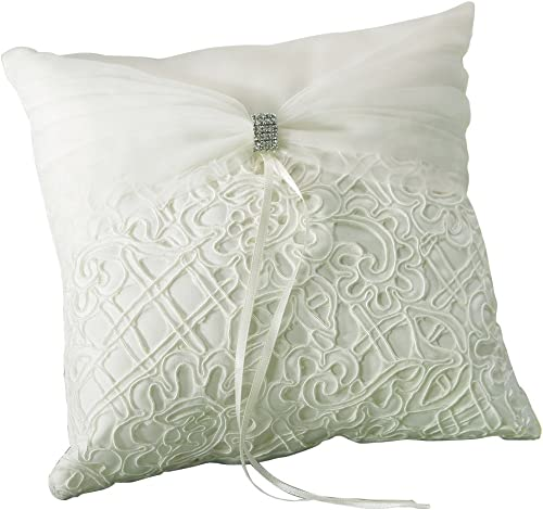 Weddingstar Bridal Tapestry Square Ring Pillow, Ivory