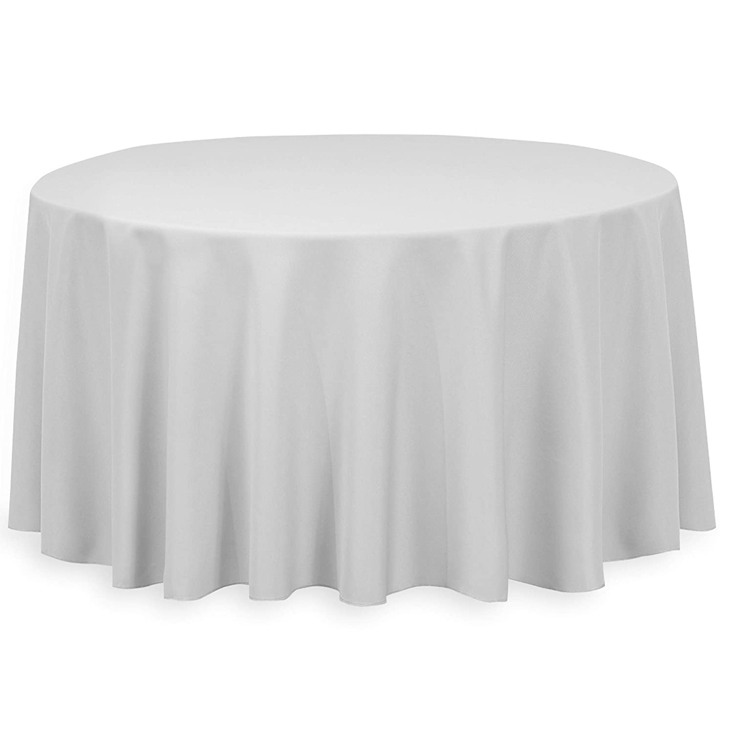 Round Table With Tablecloth.Linentablecloth 120 Inch Round Polyester Tablecloth Silver
